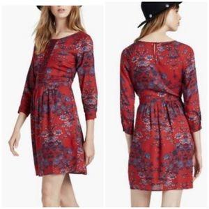 Lucky Brand Long Sleeve Floral Print Dress Medium